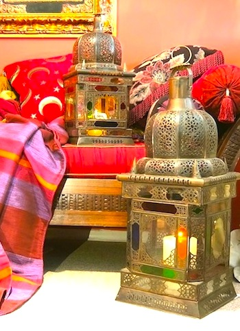 Traditional glass & brass Moroccan lanterns