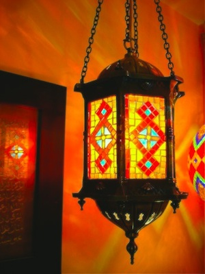 hanging turkish mosaic lamp