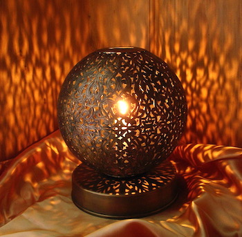Moroccan carved boule candle lamp
