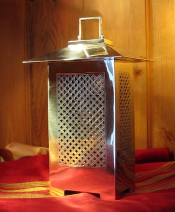 Moroccan silver candle lantern